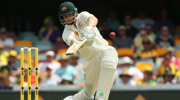 Poor crowds: Adam Voges drives during the Test at the Gabba in November.