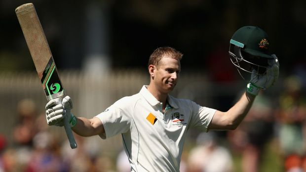 Ton up: Adam Voges celebrates after reaching his century.