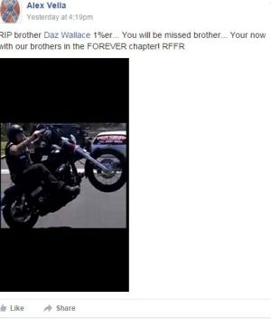 A post on the Rebels MC Australia Facebook page, paying tribute to Darren Wallace.