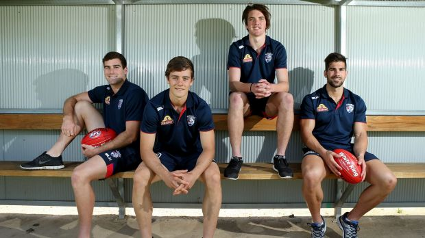 New pups: (left to right) Western Bulldogs draftees Kieran Collins, Josh Dunkley, Bailey Williams, and Marcus Williams