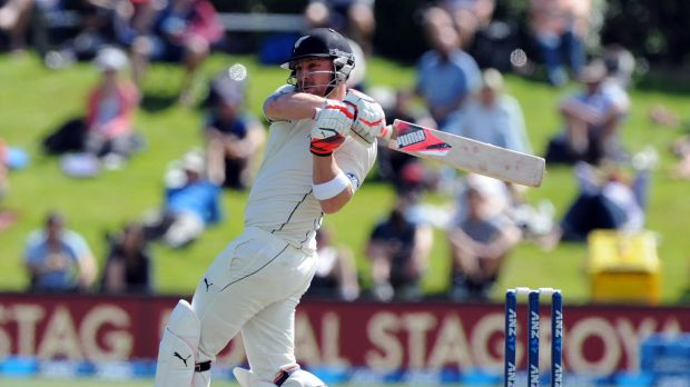 New Zealand's captain Brendon McCullum in full flow during his explosive innings.