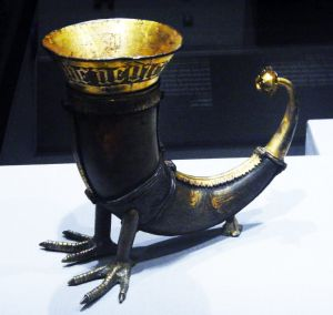 Medieval drinking horn at British Museum late Medieval Europe.
