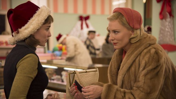 Rooney Mara, left, as Therese Belivet, and Cate Blanchett, as Carol Aird, in a scene from the lesbian romance drama, ...