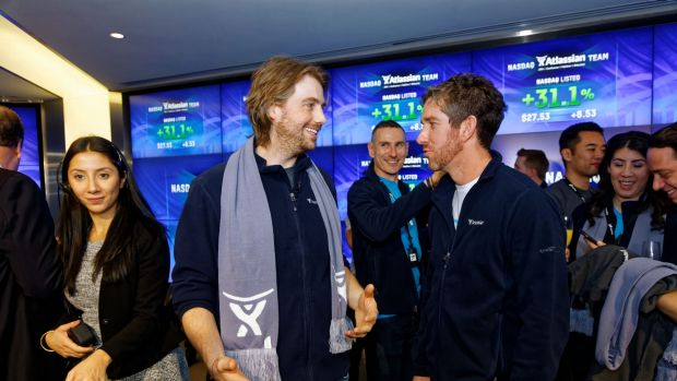 Atlassian co-founders Scott Farquhar (right) and Mike Cannon-Brookes.