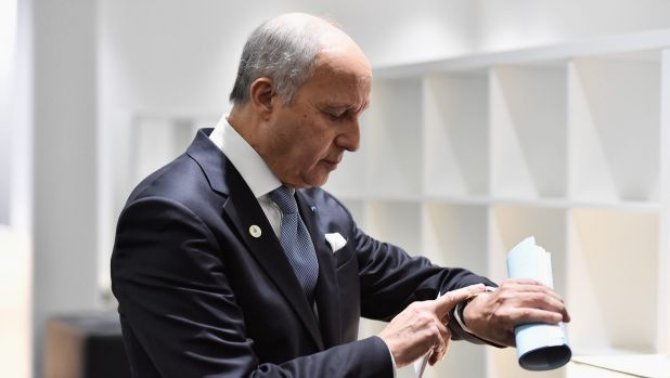 French Foreign Minister Laurent Fabius says letting the status quo continue risks killing off a two-state solution ...