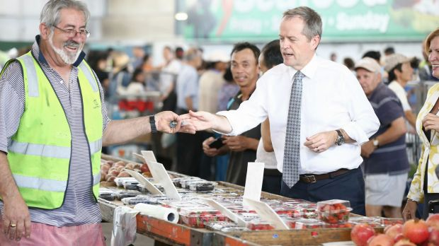 Opposition Leader Bill Shorten visits the Sydney Markets to discuss the GST, on Friday.