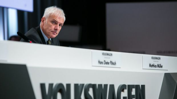 "VW CEO Matthias Mueller at Thursday's news conference: ""We don't need yes men, but managers and engineers who make good ..."