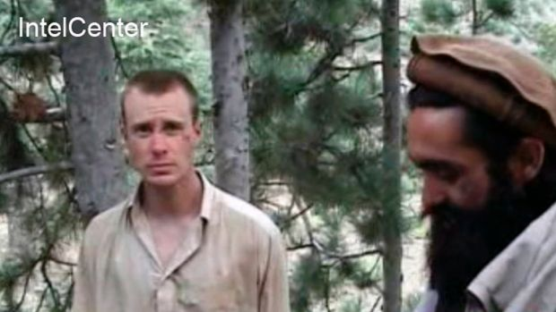 A frame grab from a 2010 video released by the Taliban showing Bowe Bergdahl with one of his Afghan captors.