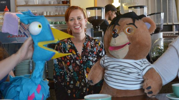 Director and producer Emma Watts with puppets from the first series of Tales from Tinder.