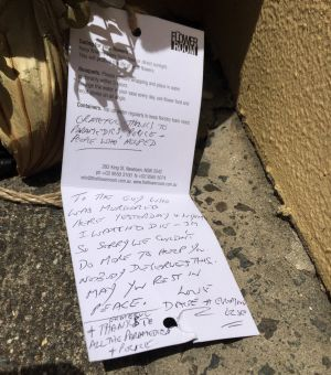 A note placed at the Camperdown bus stop by local resident, David.
