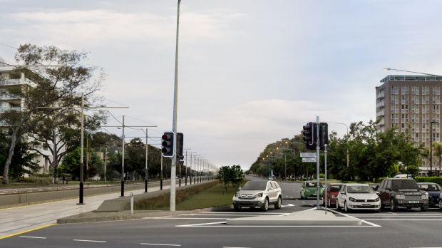 An artist's impression of Northbourne Avenue after the construction of light rail