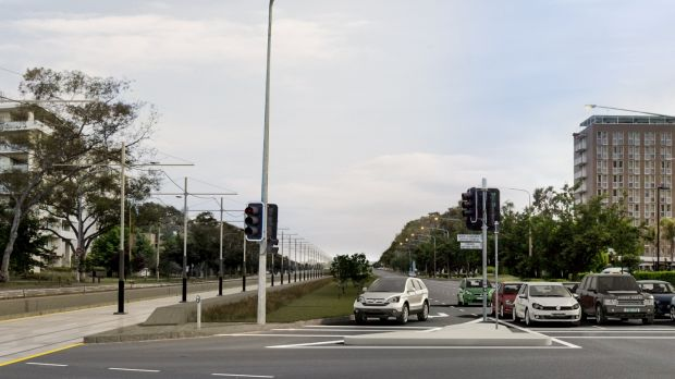 An artist's impression of Northbourne Avenue after the construction of light rail, commissioned by the Liberal Party.