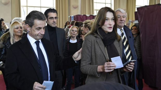 "Former French President and current French right-wing opposition ""Les Republicains"" party leader Nicolas Sarkozy and ..."