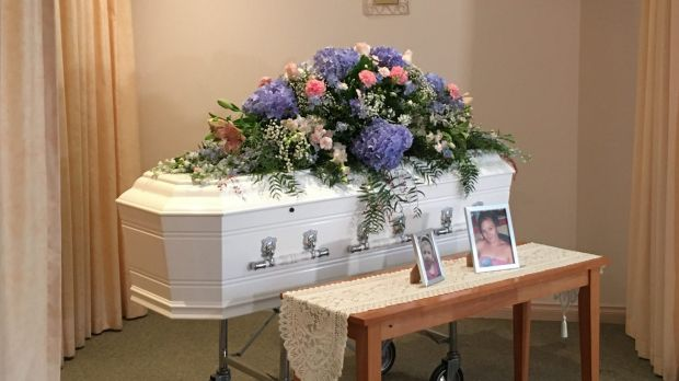 Karlie Pearce-Stevenson and Khandalyce Pearce's coffin in Alice Springs on Friday.