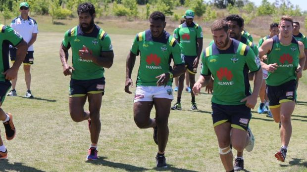 Chasing a dream: NRL hopeful Kato Ottio, centre, is hoping to land a contract with the Raiders.