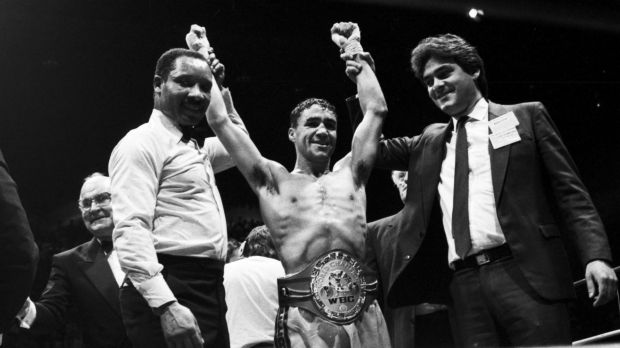Champ: Jeff Fenech wins a world championship at the Sydney Entertainment Centre, 7 March 1988.