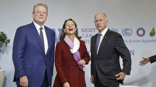 Former US Vice-President Al Gore, French Environment Minister Segolene Royal and Californian Governor Edmund Brown at ...