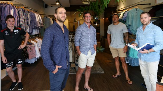 Post-football plans: Dragons winger Jason Nightingale (second from left) with Luke Keary,  Justin Hunt, Tyson Frizell ...