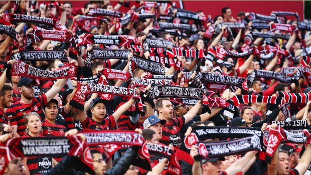 In full voice: Wanderers fans sing and support their team.