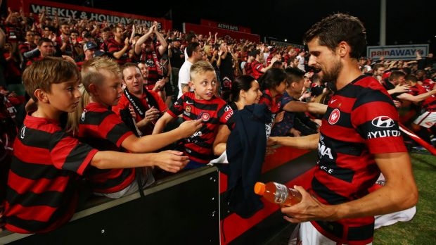 Devoted fans: Andreu interacts with Wanderers fans. Western Sydney will have to find a new home when renovations at ...