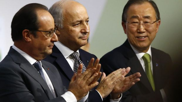 French President Francois Hollande, left, French Foreign Minister Laurent Fabius and UN Secretary-General Ban Ki-moon at ...