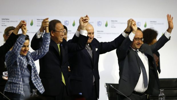 United Nations climate change chief Christiana Figueres, left, UN Secretary-General Ban Ki-moon, French Foreign Affairs ...
