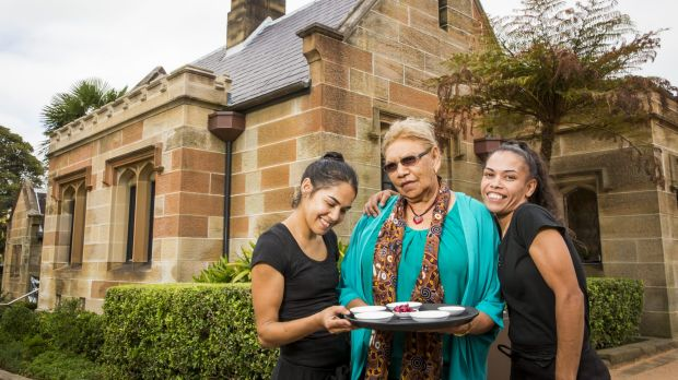 Students Kevina Fernando (left) and Kristie Ingram with Aunty Beryl (centre) at the Aboriginal-run Gardener's Lodge Cafe ...