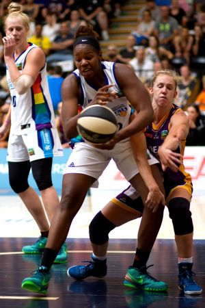 Capitals centre DeNesha Stallworth in action against the Melbourne Boomers.