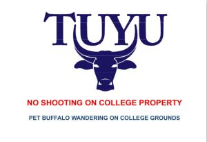 The sign erected at Tiwi College for the protection of Tuyu the water buffalo.