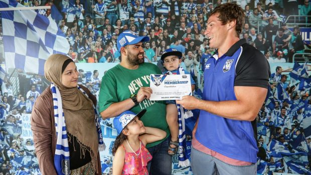 Bulldogs player Josh Jackson with Omar Sabouni, his wife Hanadi and children Reanna, 4, and Mohamed, 2, from Liverpool. ...