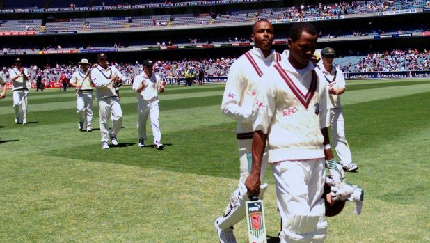 A young Marlon Samuels leads the West Indies off the MCG when they last played a Boxing Day Test