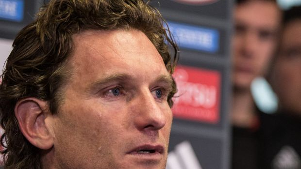 James Hird shed a tear at a press conference in August as he announced he was stepping down as coach of Essendon.
