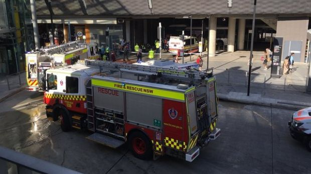 Fire trucks and ambulances attend the scene at Chatswood bus interchange.