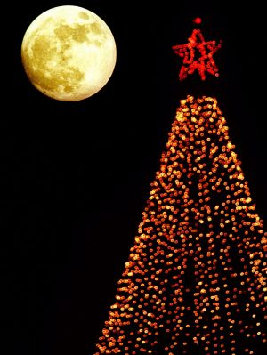 The last time a full moon occurred on Christmas Day was 1977, NASA says.