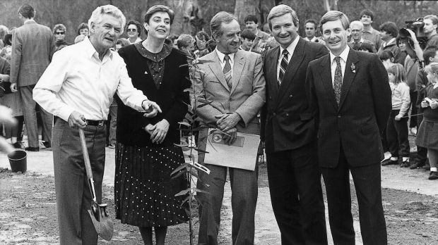Bob Hawke plants the first of a promised one billion trees, with ACT chief minister Rosemary Follett, and the premiers ...