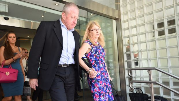 Inquest continues: Matthew Leveson's parents Faye and Mark leave the Glebe Coroner's Court in December last year.