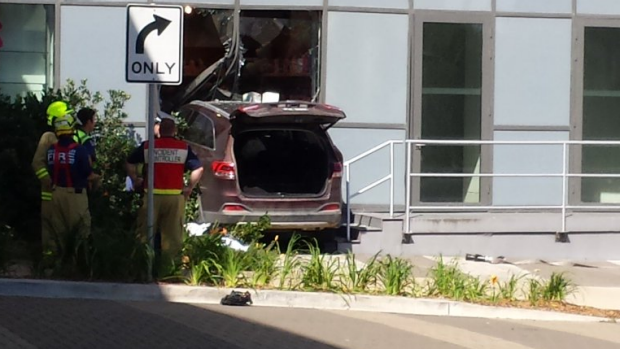 The car crashed through the front of the Royal North Shore Hospital on Monday.