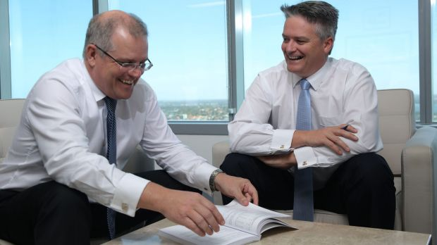 Treasurer Scott Morrison and Finance Minister Mathias Cormann in Perth to deliver the mid-year economic and fiscal outlook.