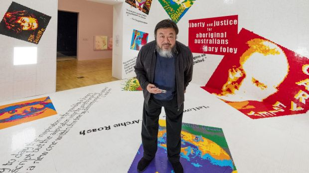 Ai Weiwei in the Let-go room at the National Gallery of Victoria, part of the Andy Warhol| Ai Weiwei summer blockbuster ...