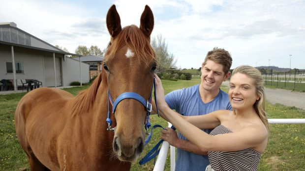 Erin Molan and her partner, the NSW cricker player Daniel Hughes, with their filly.
