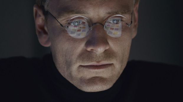 Michael Fassbender slips into the black turtleneck of late tech giant Steve Jobs.