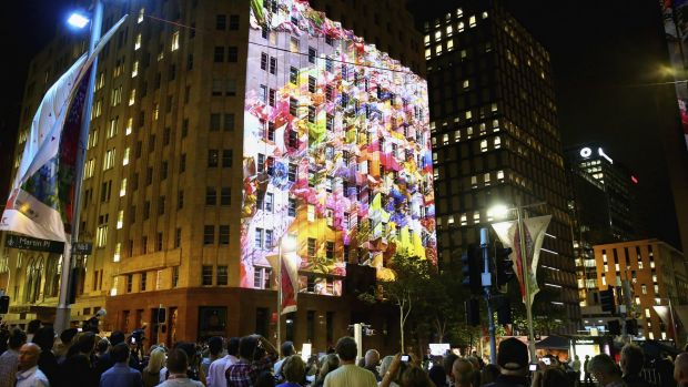 Images were projected onto the Lindt Cafe building during the one year service.