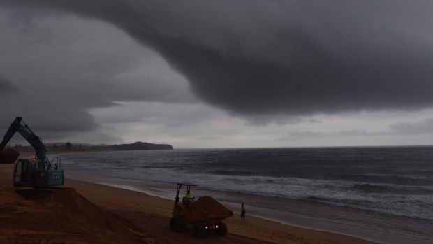 A storm cell moves along the coast at Narrabeen on Sydney's northern beaches on Wednesday.