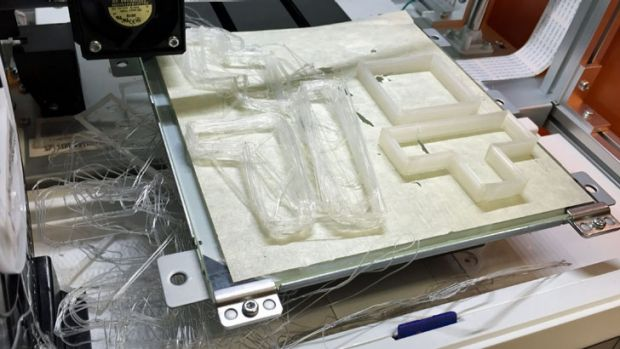 A failed attempted to print Tetris cookie cutters – objects in the front left corner broke free from the print bed ...