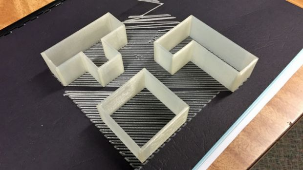 A second attempt to print Tetris cookie cutters was more successful, using XYZware's raft option to add a base to the ...
