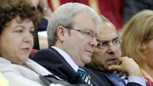 Kevin Rudd and Jose Ramos-Horta at the Beijing Olympics in 2008.