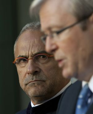 "Former president of East Timor Jose Ramos-Horta, left, says he is ""very supportive of Kevin Rudd as secretary-general, ..."