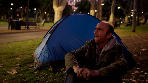 Rob Neville was sleeping in Belmore Park, near Central station, in August. He has battled alcohol and drug addictions ...