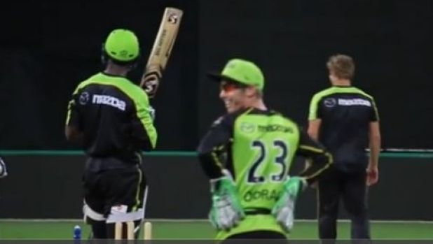 Hit for six: Shane Watson [far right]