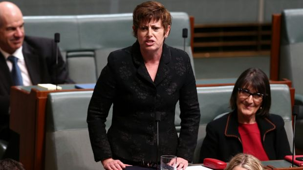 Ms Burke delivers a statement at the end of question time in 2014.